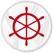 Helm In Red And White Round Beach Towel