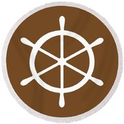 Helm In White And Brown Round Beach Towel