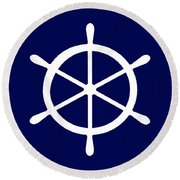 Helm In White And Navy Blue Round Beach Towel