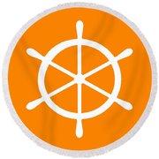 Helm In White And Orange Round Beach Towel