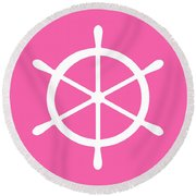 Helm In White And Pink Round Beach Towel