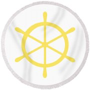 Helm In Yellow And White Round Beach Towel