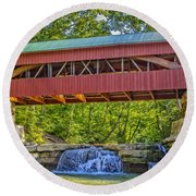 Helmick Mill Or Island Run Covered Bridge  Round Beach Towel
