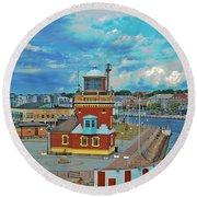 Helsingborg Lighthouse Hdr Round Beach Towel