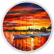 Helsinki Sailboats At Yacht Club Round Beach Towel by Leonid Afremov