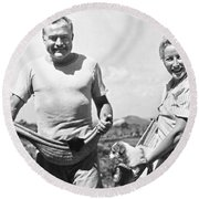 Hemingway, Wife And Pets Round Beach Towel by Underwood Archives