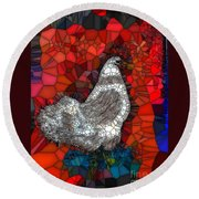 Hen Watch I Round Beach Towel