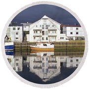 Henningsvaer Panoramic View Round Beach Towel