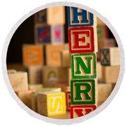 Henry - Alphabet Blocks Round Beach Towel