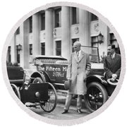 Henry And Edsel Ford Round Beach Towel