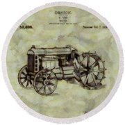 Henry Ford Tractor Patent Round Beach Towel