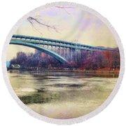 Henry Hudson Bridge And The Palisades Round Beach Towel