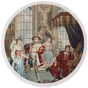 Henry Viii And Anne Boleyn Round Beach Towel