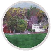 Henry Warren's Red Barn Round Beach Towel
