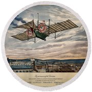 Henson's Aerial Steam Carriage 1843 Round Beach Towel
