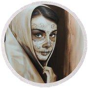 Hepburn De Los Muertos Round Beach Towel