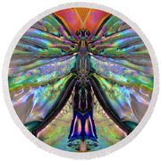 Her Heart Has Wings - Spiritual Art By Sharon Cummings Round Beach Towel