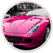 Her Pink Ferrari Round Beach Towel by Matt Malloy