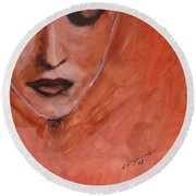 Looking To Her Soul Round Beach Towel