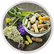 Herbal Medicine And Herbs Round Beach Towel