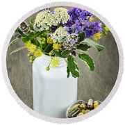 Herbal Medicine And Plants Round Beach Towel by Elena Elisseeva