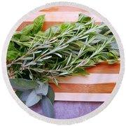 Herbs On Cutting Board Round Beach Towel