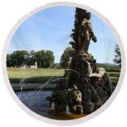 Hercules Sculpture Water Fountain  Round Beach Towel