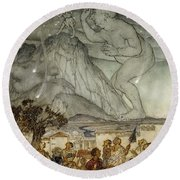Hercules Supporting The Sky Instead Of Atlas Round Beach Towel by Arthur Rackham