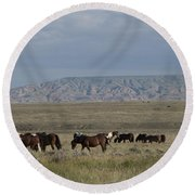 Herd Of Wild Horses Round Beach Towel by Juli Scalzi
