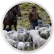 Herding Sheep Patagonia 3 Round Beach Towel