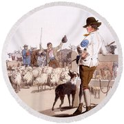 Herdsmen Of Sheep And Cattle, From The Round Beach Towel by William Henry Pyne