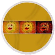 Here Come The Suns Triptych Round Beach Towel