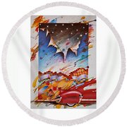 Here Comes The Night Round Beach Towel