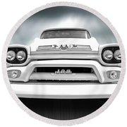 Here Comes The Sun - Gmc 100 Pickup 1958 Black And White Round Beach Towel