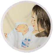 Here I Am Sister Round Beach Towel