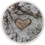 Here Is My Heart Round Beach Towel