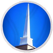 Here Is The Steeple Round Beach Towel