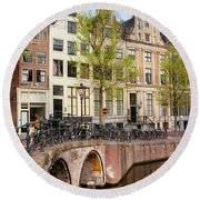 Herengracht Canal Houses In Amsterdam Round Beach Towel