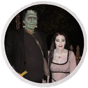 Herman And Lilly Munster Round Beach Towel