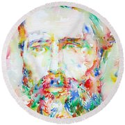 Herman Melville Watercolor Portrait.1 Round Beach Towel