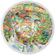 Hermann Hesse With Hat Watercolor Portrait Round Beach Towel