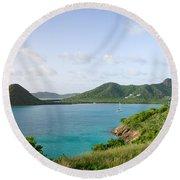 Hermitage Bay Panorama Antigua Round Beach Towel