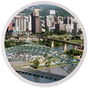 Hernando-desoto Bridge Memphis Round Beach Towel