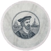 Hero Sea Captain - Nautical Design Round Beach Towel