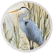Heron And Cattails Round Beach Towel by James Williamson
