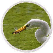 Heron And Dragonfly Round Beach Towel