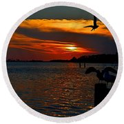 Heron And Seagull Sunset I Mlo Round Beach Towel