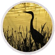 Heron At Sunrise Round Beach Towel