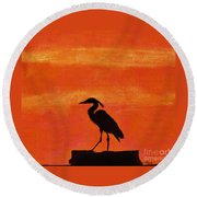 Heron - At - Sunset Round Beach Towel