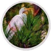 Heron In The Pines Round Beach Towel